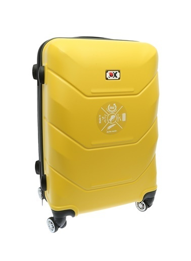 Ox Ox Orta Boy Çekçekli Sert Valiz Sarı